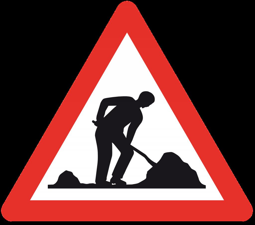 Schild Baustelle